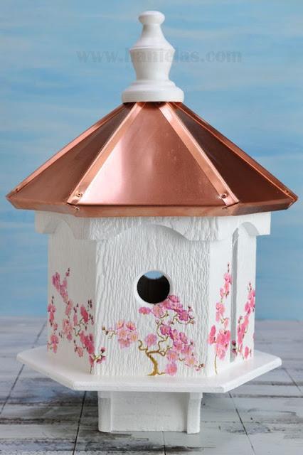 Cherry Tree Birdhouse, Napkin Decoupage Video Tutorial