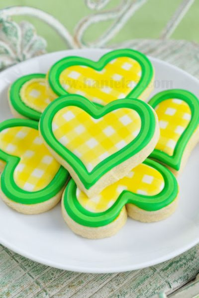 Yellow Gingham Heart Cookies