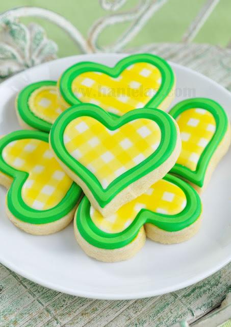 Yellow Gingham Heart Cookies