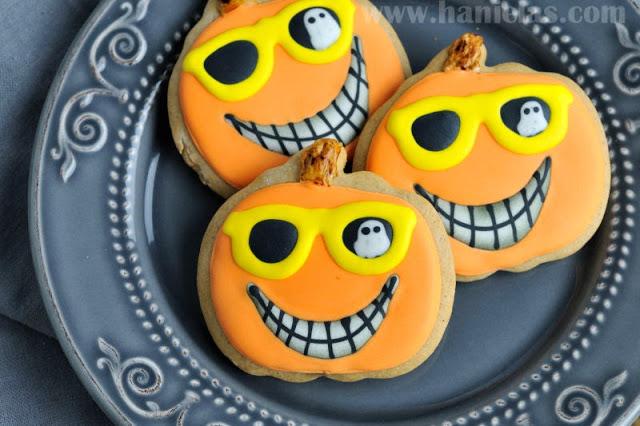 Decorated Ghost Haunted Pumpkin Cookies