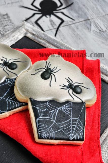 Halloween Spider Cupcake Cookies, Royal Icing Transfers