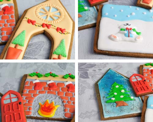 Decorated gingerbread house panels on a table.