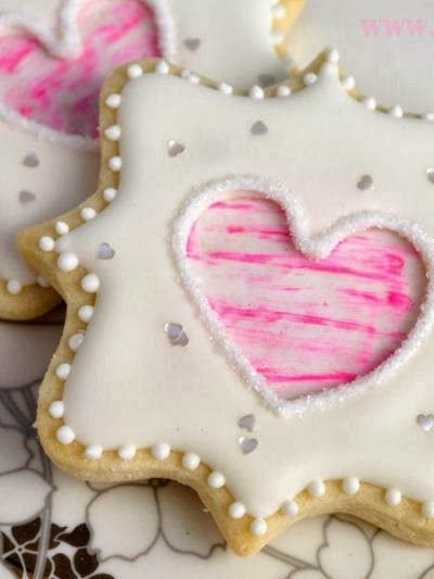 Valentine's Day Square Cookies and Dry Brushing on Cookies