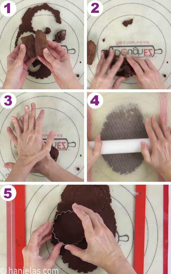 Rolling out cookie dough between silicone mats.
