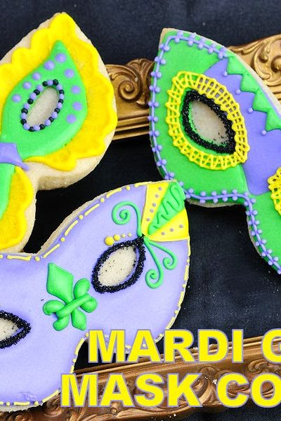 Mardi Gras Mask Cookies Decorated with Royal Icing