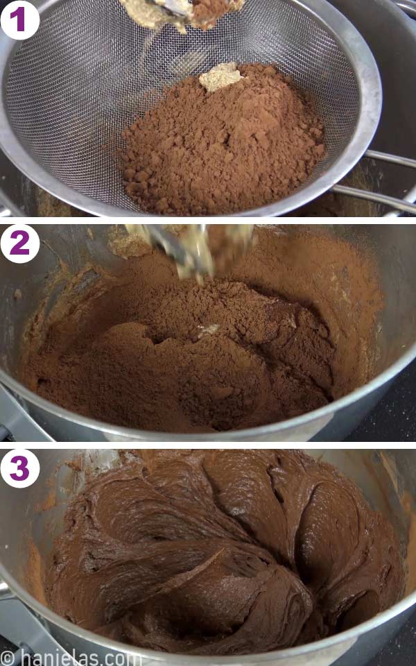 Bowl with creamed butter and sugar and sifted cocoa powder on the top.