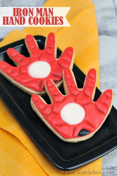 Iron Man Hand Cookies Decorated with Royal Icing