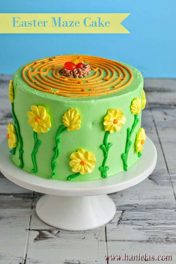 Easter Maze Cake With Simple Buttercream Flowers Haniela