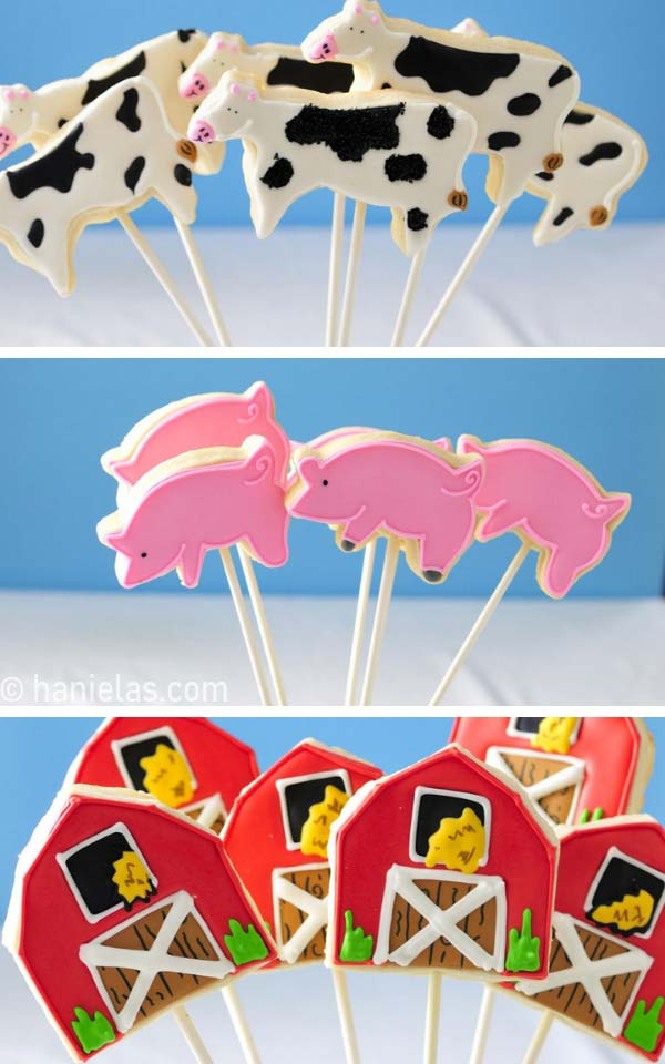Decorated animal cookies on sticks.