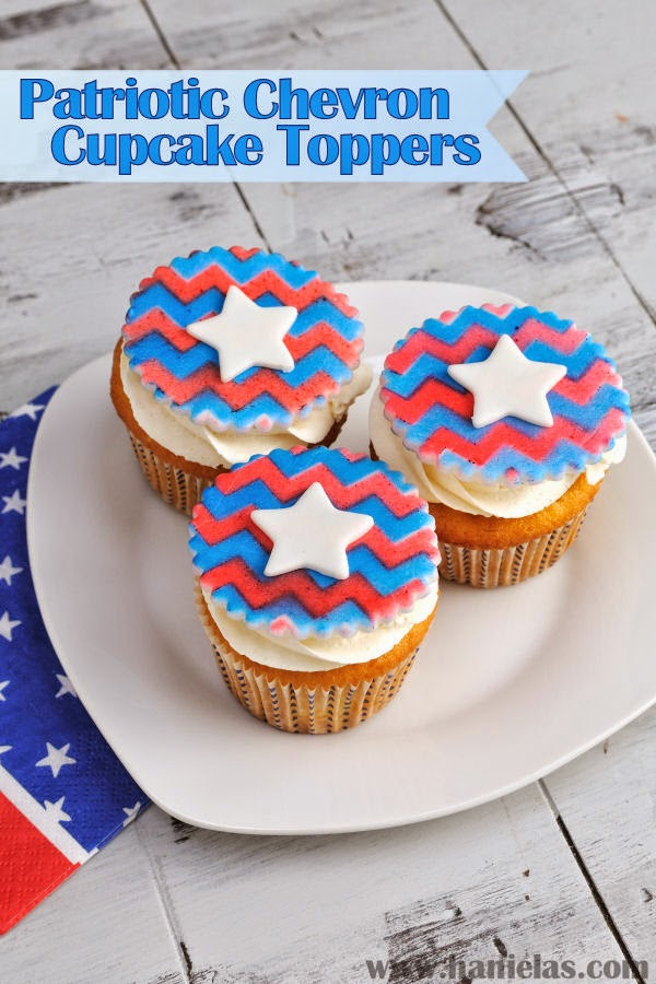 4th of July Chevron Cupcake Toppers