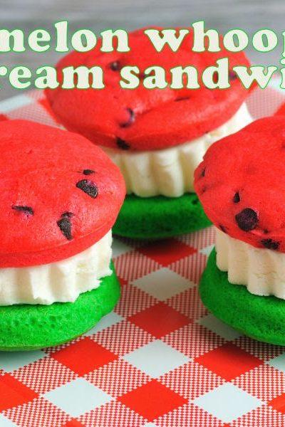 Watermelon Whoopie Pie Ice Cream Sandwiches