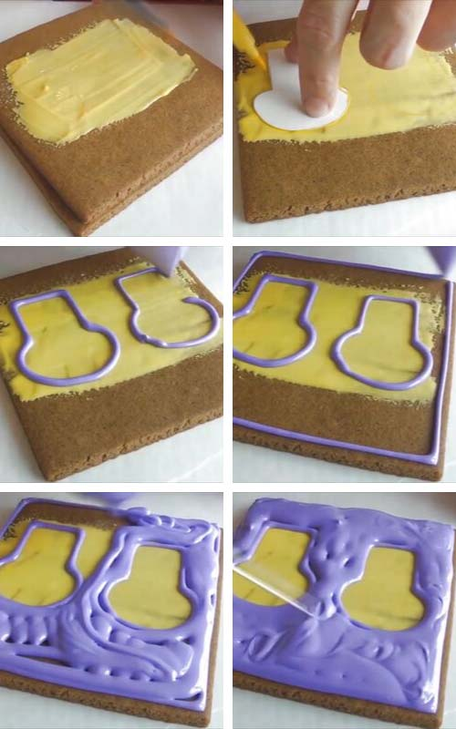 Brushing thin layer of icing on a cookie.