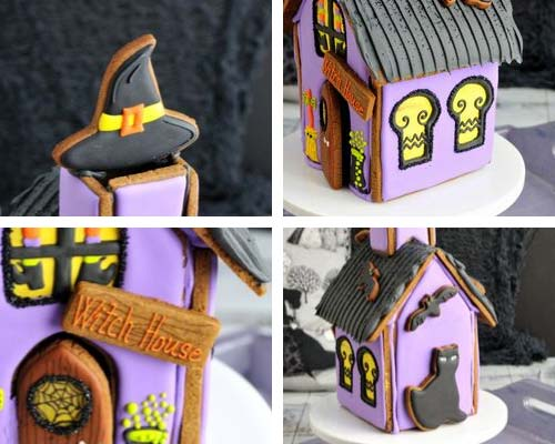 Decorated gingerbread house details.