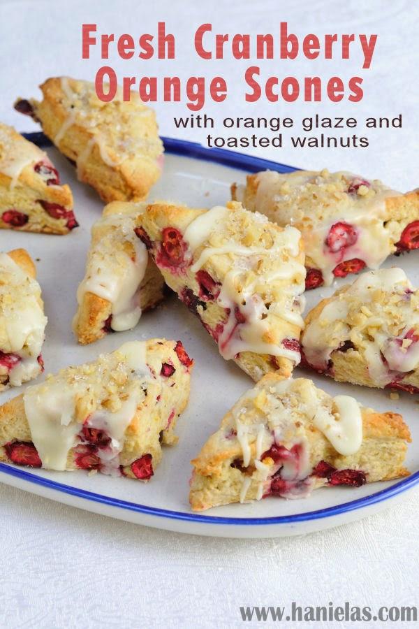 Fresh Cranberry Orange Scones with Orange Glaze and Toasted Walnuts