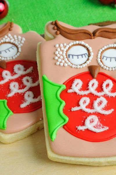 Christmas Woodland Owl Cookies, Collaboration with Melissa Joy Fanciful Cookies