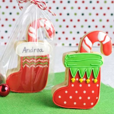 Decorated sugar cookies packages in clear poly bag.