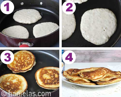 Cooking pancakes on a skillet.
