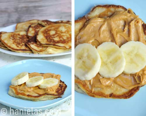 Pancakes with peanut butter and slices bananas on a blue plate.