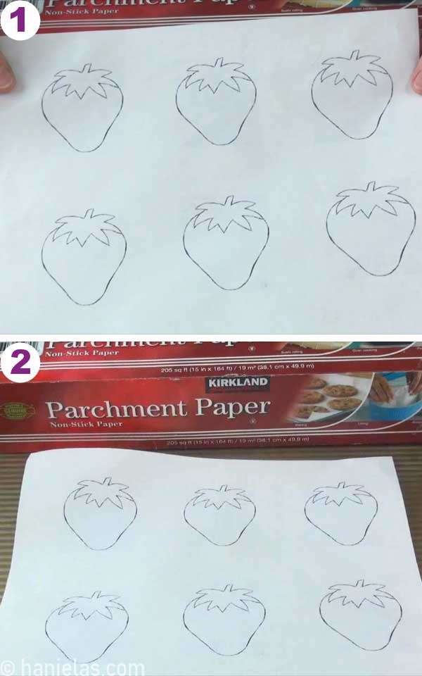 Paper with printed strawberry outlines.