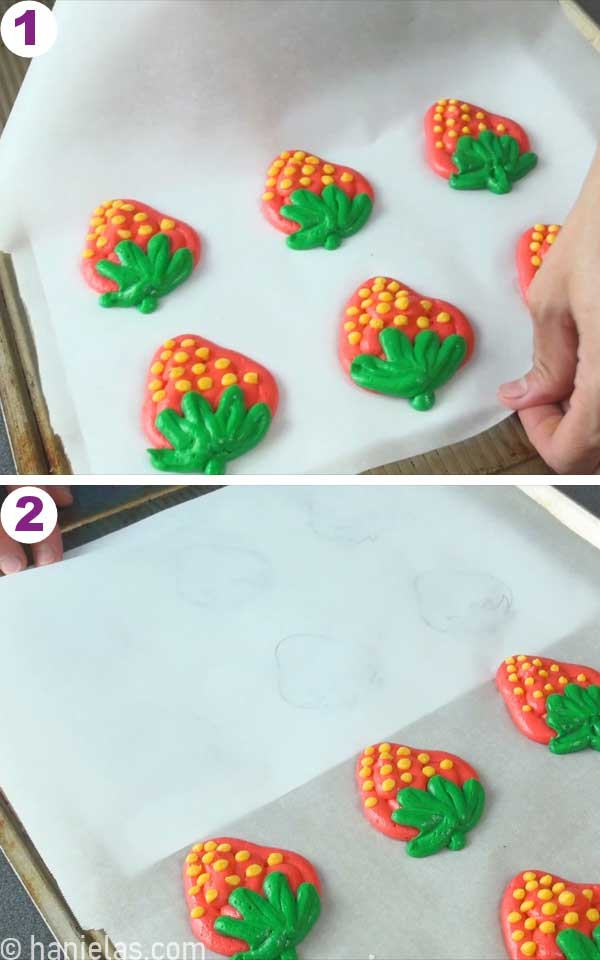 Strawberry shapes piped with cake batter.