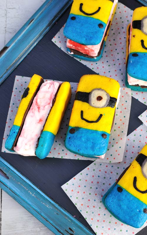Rectangular Minions cake ice cream sandwiches.