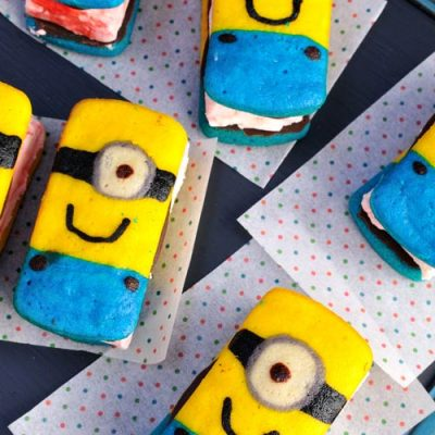 Rectangular minion ice cream sandwiches on a tray.