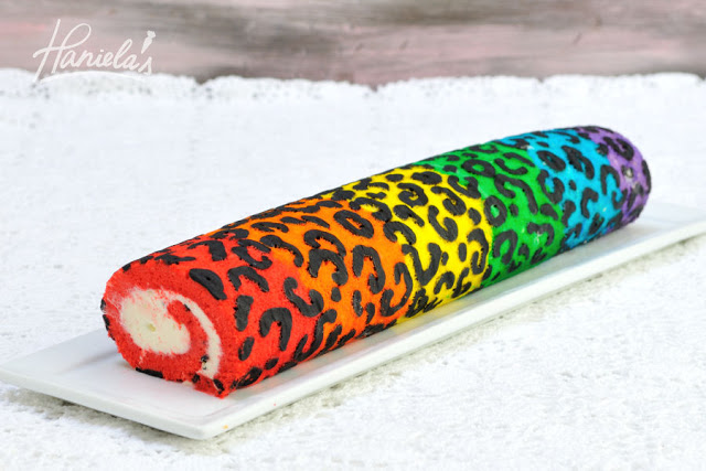 Rainbow Leopard Cake Roll with Marshmallow Cream Cheese Frosting
