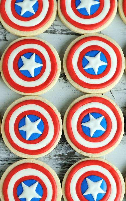 Decorated red blue white patriotic captain america cookies.