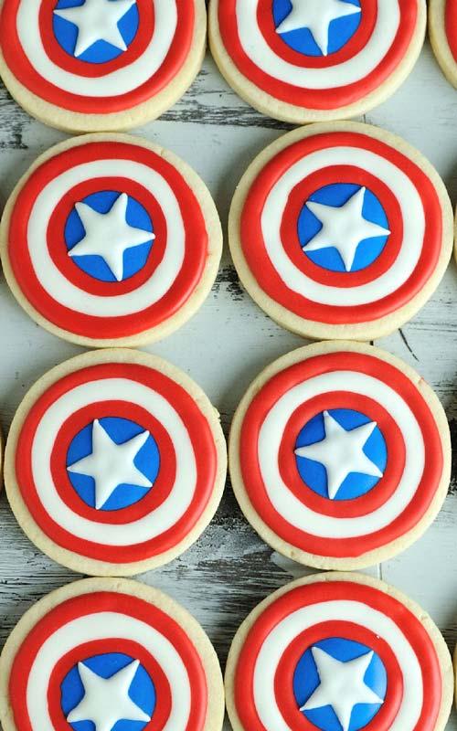 Decorated red blue white patriotic captain america cookies.