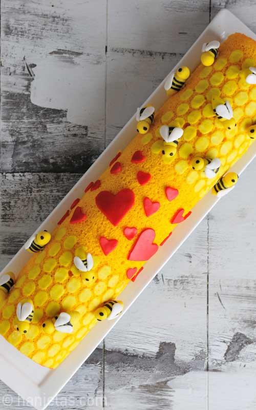 Bee Mine Valentine's Day Cake Roll