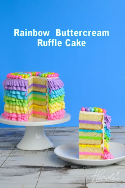 Rainbow Buttercream Ruffle Cake