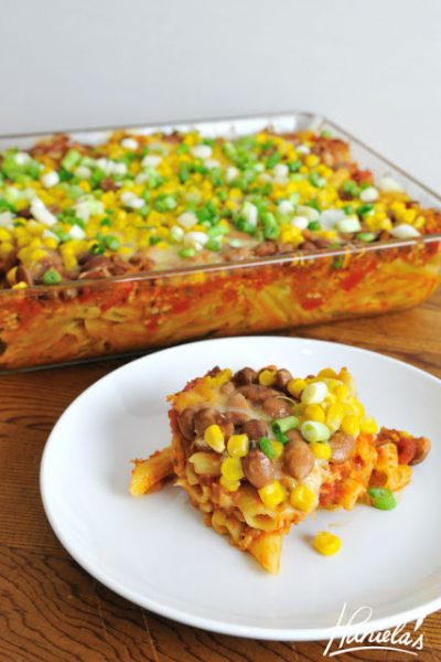 Layered Casserole with Pasta and Ground Pork