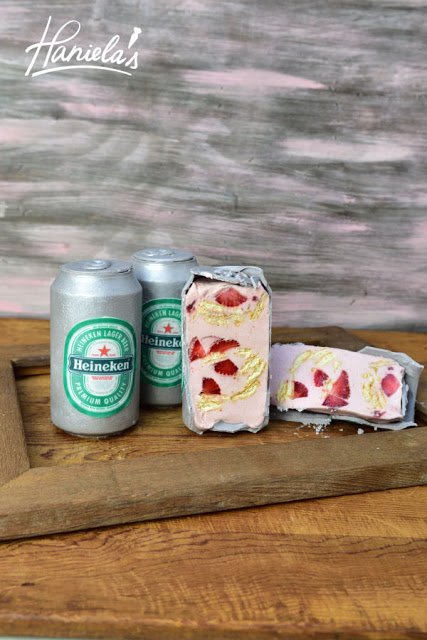beer, father's day, april fools day, strawberry mousse, heineken cake