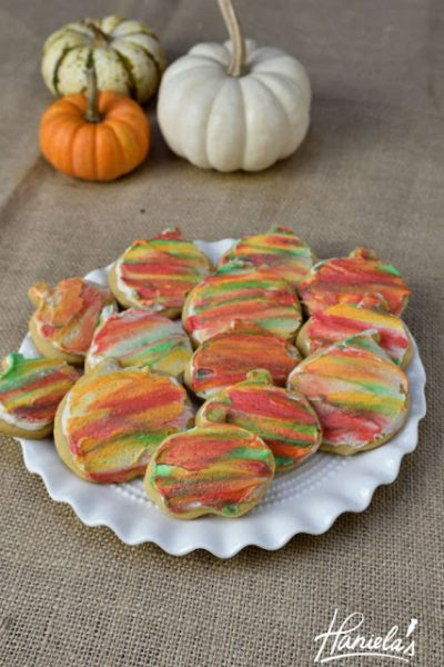 Pumpkin Cut Out Cookies with Maple Watercolor Frosting