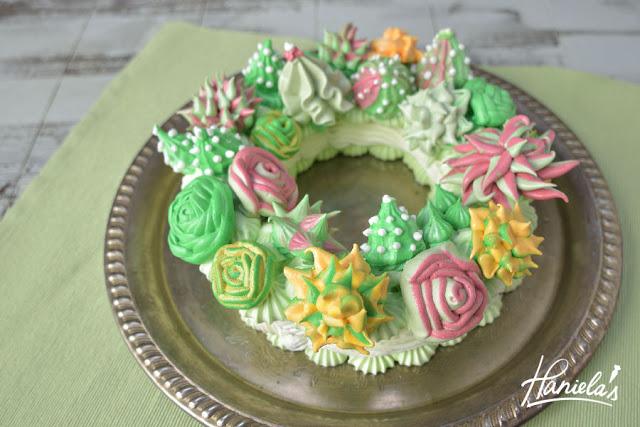Succulent Meringue Wreath Cake