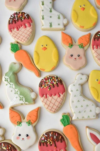 Decorated bunny, chick and carrot cookies.
