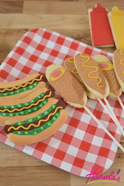 Hot Dogs, Corn Dogs and Condiment Bottle Cookies