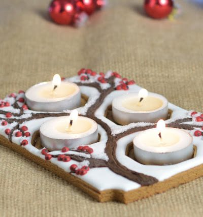 Pretty Christmas Gingerbread Advent Centerpiece