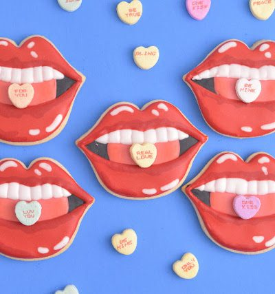 Lips Cookies with Conversation Heart Candies
