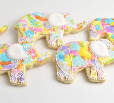 Watercolor Elephant Cookies