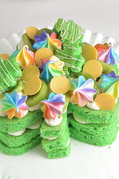 Saint Patrick's Day Shamrock Rainbow Cake