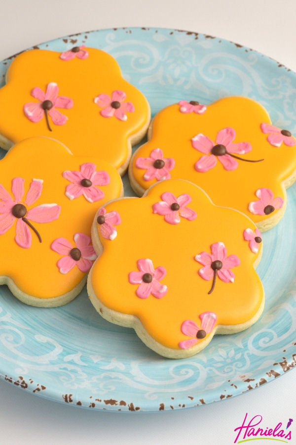 Brushed Embroidery Flower Cookies Inspired By Fabric Design