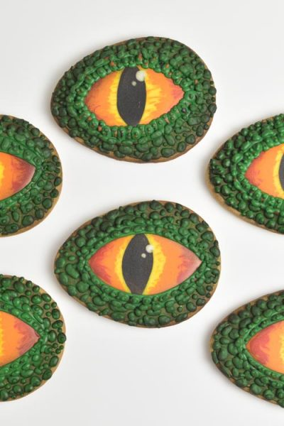 Decorated dragon eye cookies with royal icing.