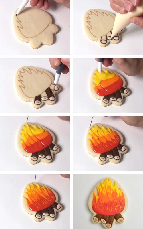 Running a needle tool thru red, orange and yellow royal icing to create fire like design.