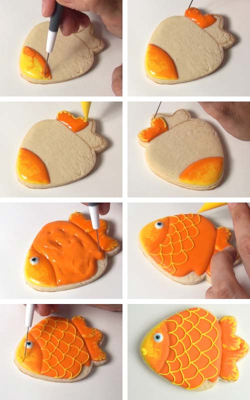 Fish shaped cookie iced with orange icing. Piping scales with icing onto the icing.