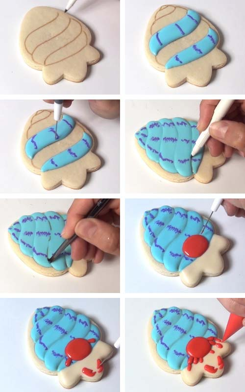 Icing a cookie with royal icing. Using a brown edible marker to create shading on royal icing.
