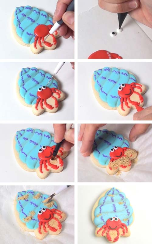 Attaching eyes onto the cookie. Brushing a layer of icing onto the cookie and decorating it with cookie sand.