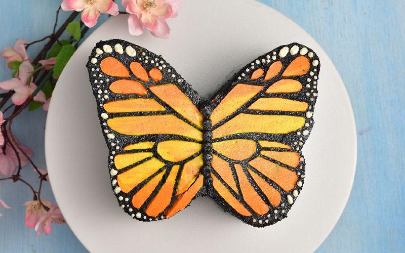 monarch, butterfly, cake
