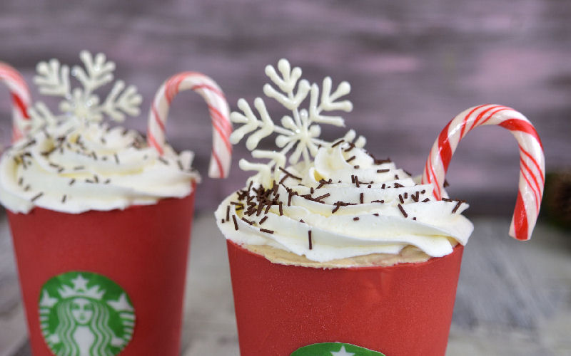 chocolate snowflakes, candy cane, peppermint, mocha