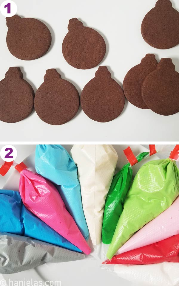 Undecorated chocolate cookies and piping bags filled with royal icing on a white background.